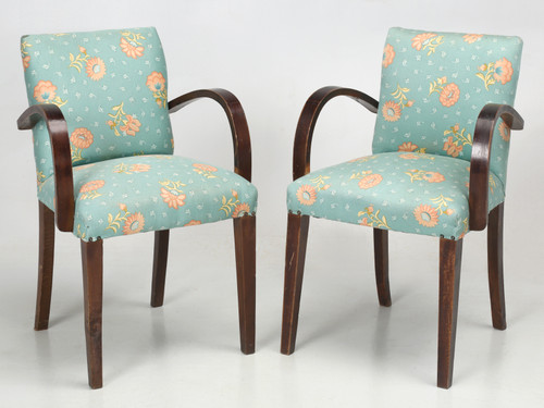 """Pair of French """"Bridge"""" Chairs, circa 1940s Pair Front"""
