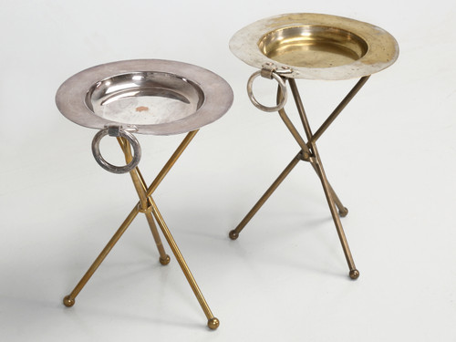 Pair of Brass Petite Vintage French Wine Tables
