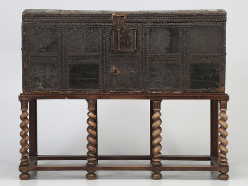 Antique Spanish Leather Trunk circa 1600's