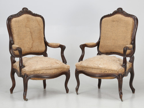 Pair of Antique French Carved Armchairs Pair Front