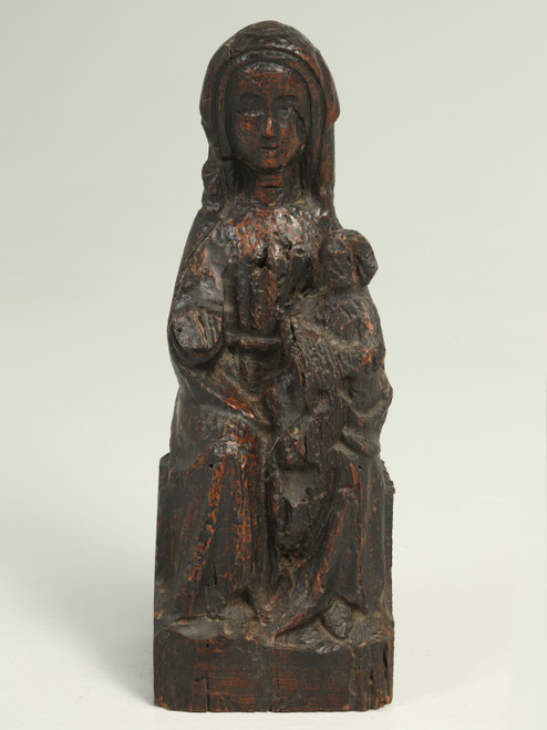 Antique Wood Carving of a Woman and Child, Spanish, circa Late 1600s