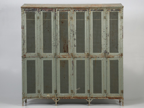 Antique French Industrial Painted Lockers