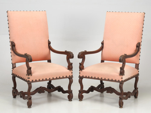 Antique Pair of French Throne Armchairs c.1900 Front