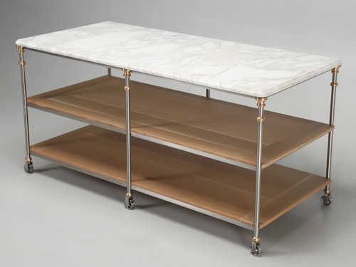 Industrial Stainless and Bronze Kitchen Island
