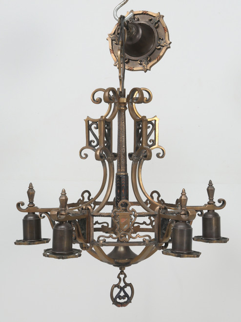 Antiques Brass Chandelier Arts & Craft Style Front