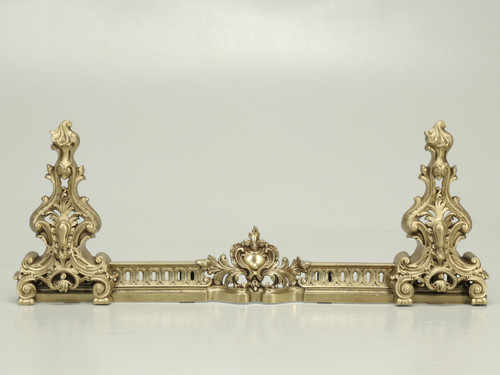 Antique French Andirons with Their Original Matching Fender in Bronze
