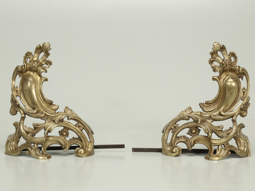 Antique French Solid Bronze Andirons or Chenets