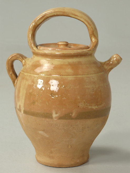 Antique French Pottery Jug with Matching Lid