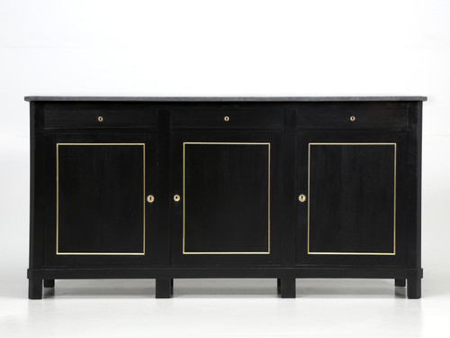 Antique French Buffet Ebonized with Brass Trim Front