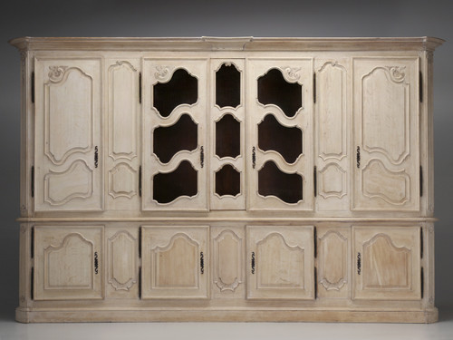 Antique French Bookcase/Cabinet Limed White Oak Front View