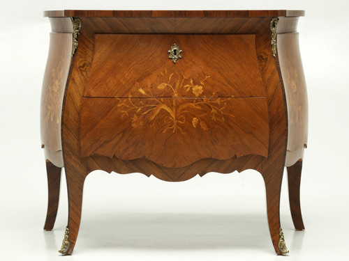 Vintage Bombe Inlaid Louis XV Style Commode