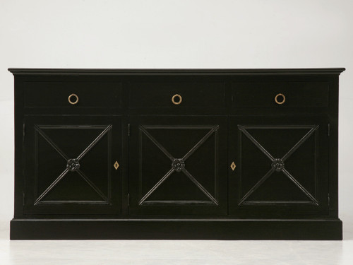 Handcrafted French Jansen Style Black Buffet Front