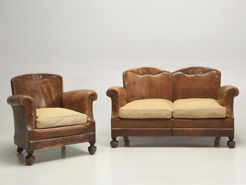 French Art Deco Leather Club Chair with Settee