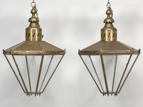 Pair of Antique Large Brass Lanterns Restored Front