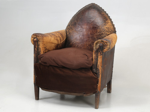 French Leather Club Chair As Is