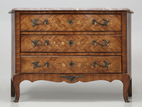 Antique French Bombé Commode with Marble
