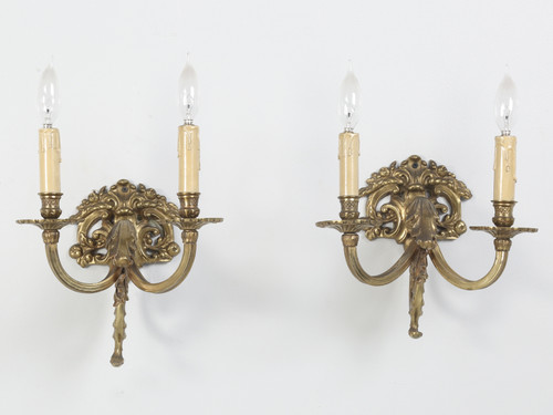 Pair of Solid Brass Two-Light Sconces Front
