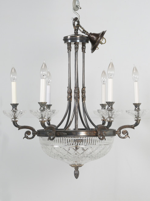 Vintage Chandelier with Cut-Glass Front