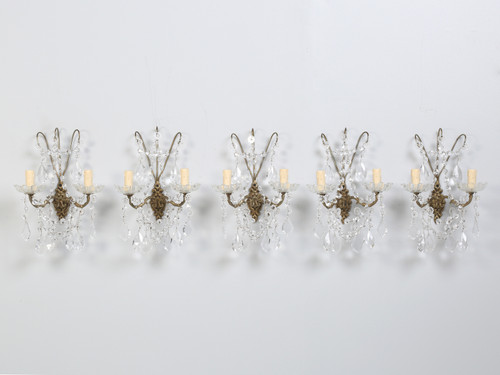French Crystal and Brass 2-Light Sconces Front