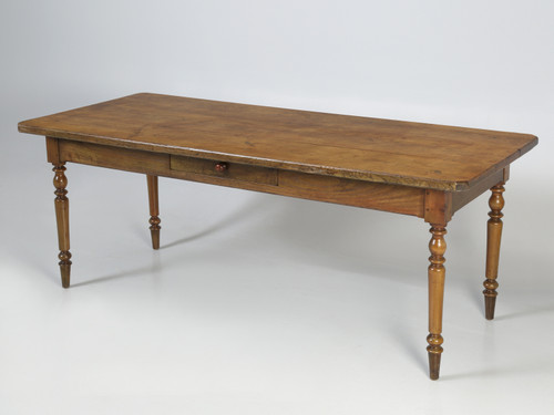 French Oak Table with Pass-Through Drawer Main