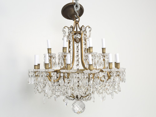 Antique Baccarat Bronze and Crystal Chandelier Front