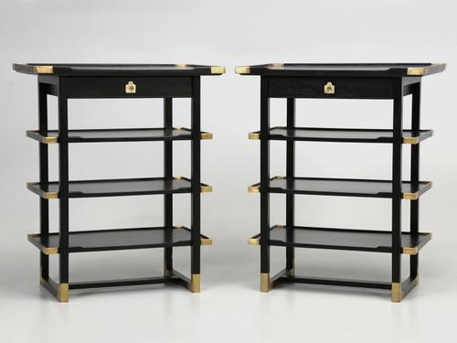 French Pair of Ebonized Mahogany Side Tables
