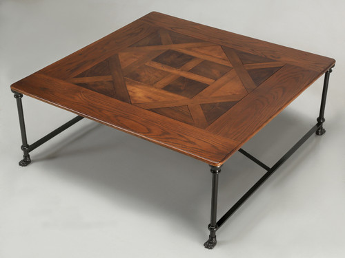 French Industrial Parquet Top Coffee Table