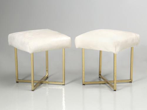 Vintage Brass Stools Attributed to Paul McCobb Angled Pair