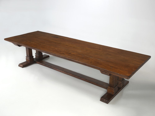 Trestle Table Crafted from Reclaimed Thick Oak Main