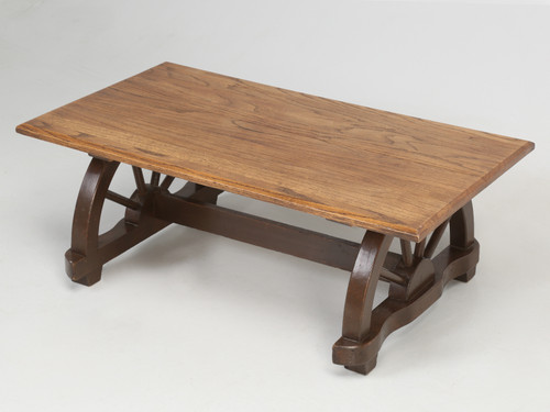 American Western Ranch Oak Table c.1950s Angled