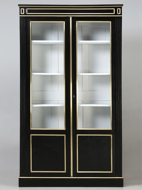 French Louis XVI Ebonized Mahogany Bookcase Front