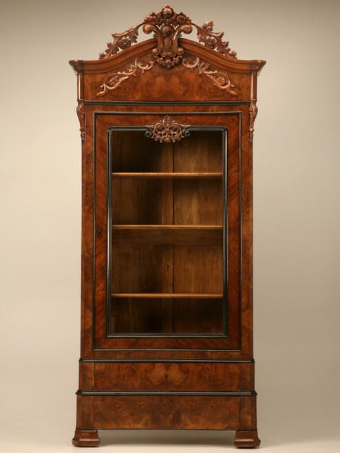 Antique French Glazed Walnut Cabinet Front