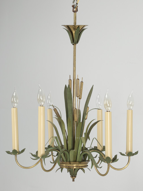 Vintage French Painted Cattail Chandelier Front