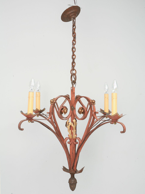 Vintage French Steel Chandelier Front