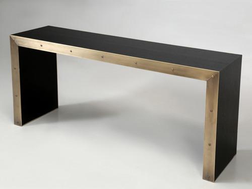 Bronze and Ebonized Wood Console Table Angled