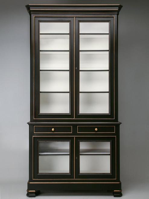 Custom Handmade French Style Black Bookcase Front