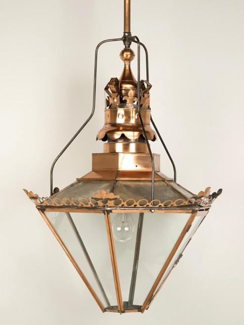 "Antique English ""Huge"" Copper Lantern Front"