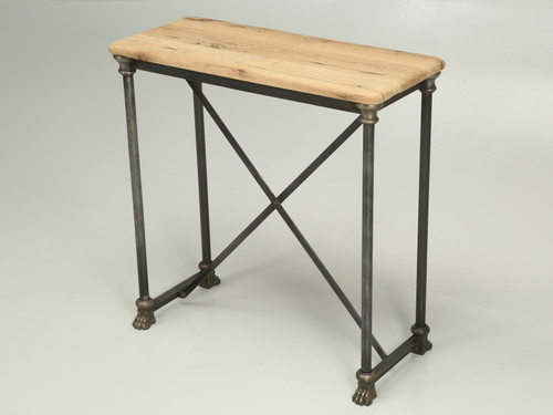 French White Oak and Steel Small Console Table