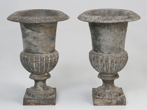 Pair of Small Antique Cast Iron Planters