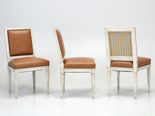 Louis XVI Style Dining Chairs Made in France Three Chairs Angled