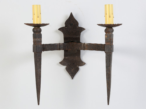 Gothic Two-Light Sconce Handcrafted in France