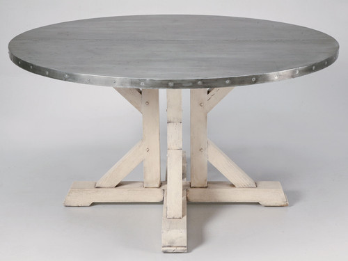 Custom French Round Zinc Topped Dining Table Main