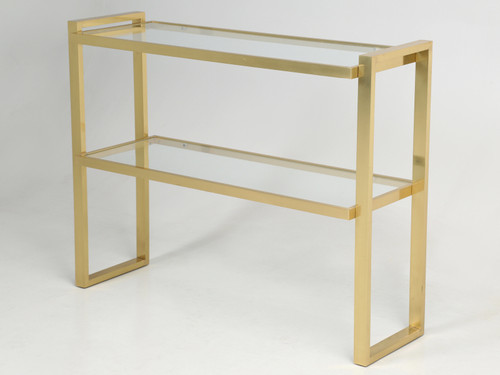 Midcentury Modern Brass Console Table Angled