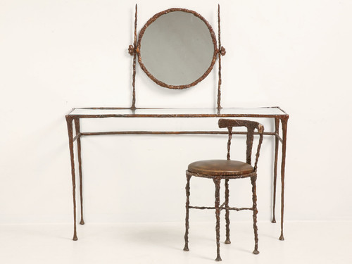Vintage Giacometti Inspired Bronze Dressing Table Front