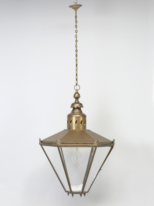 Antique Large Brass French or English Lantern Front with Chain
