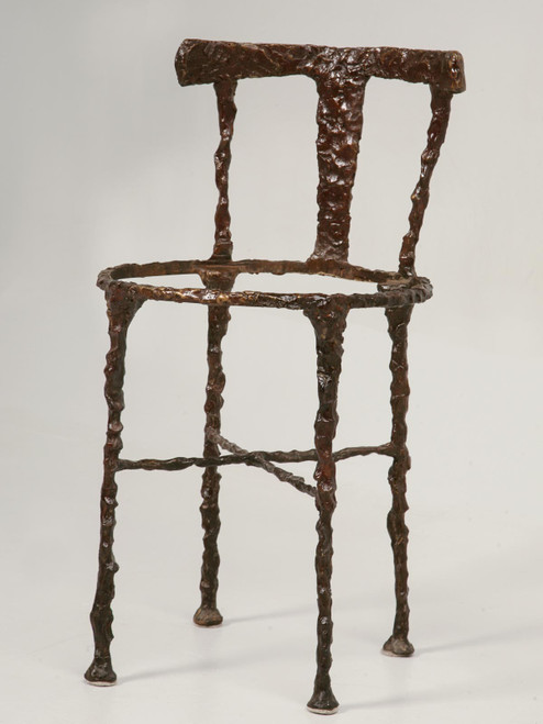 Vintage Bronze Giacometti Inspired Chair Angled