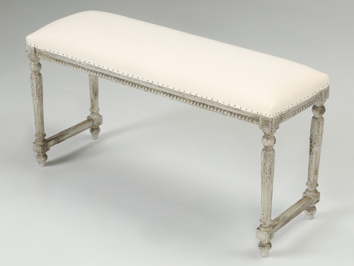 Antique French Louis XVI Style Painted Bench Angled