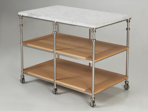 Kitchen Island Stainless Steel Silver Plated