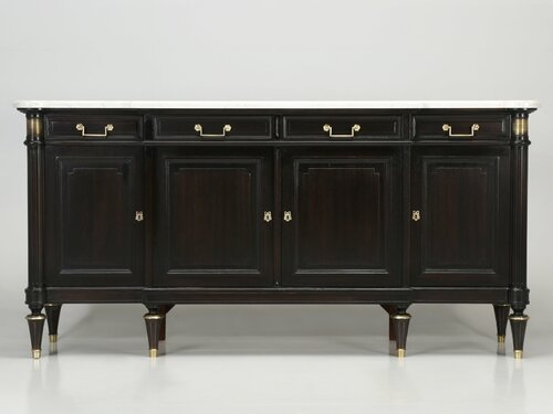 Restored Louis XVI Style Buffet Stained Brown Front