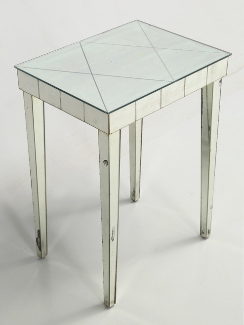 Vintage Midcentury Modern Mirror End Table Angled Right